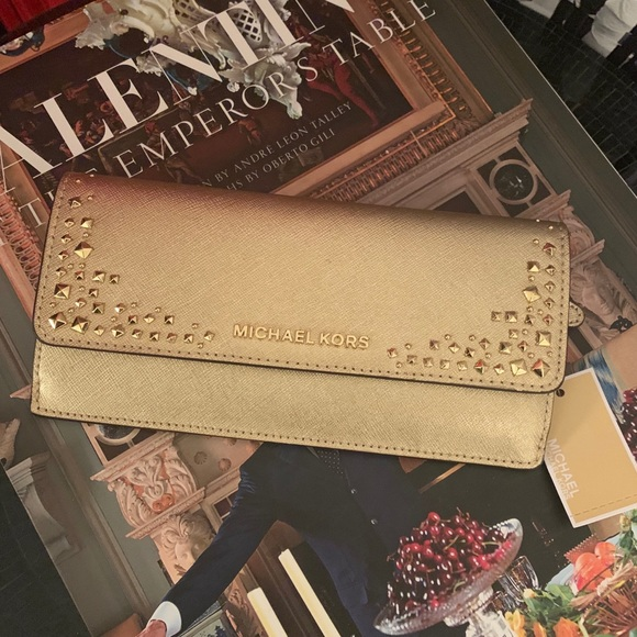 Michael Kors Handbags - NWT Michael Kors Flat Gold Studded Wallet